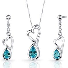 Ice 2 CT TW Swiss Blue Topaz Silver Earrings and Heart Pendant Necklace Set