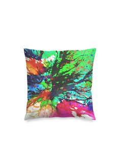 Blossoming 10-h - Square Pillow by Eliora BOUSQUET Black Garden, Red Pillows, Black Mountain, Sound & Vision, Decoration, Pillow Covers, Creations, Watercolor, Abstract