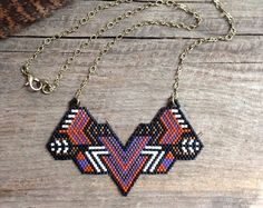 Hannahannas...seed bead necklace, brick stitch, handstitched, handmade, OOAK, beaded, tribal
