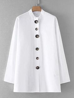 Lutratocro Men Contrast Color Punk Fashion Stand Collar Irregular Vintage Button Down Shirts