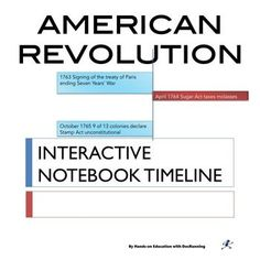 The American Revolution notebook timeline provides students a visual way to explore the events of the American Revolution and show the course of the war from the two sides.  Students use pre-made timeline cards to attribute events to sides.  Students add