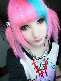 Pink, blue and purple pigtail hair, very cute!