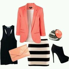 Accessories: Coral pink business jacket over white shirt. Black tank top. Peach clutch. Black and white striped skirt. Black heels. Diamond and black ring with coral colored stone