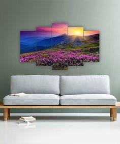 Look at this #zulilyfind! Morning Mountain Meadow Five-Panel Wall Art #zulilyfinds