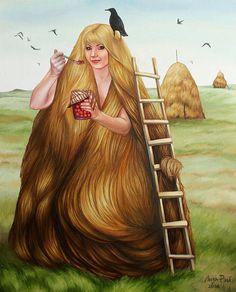 Лиза Рэй – Осенний стог Liza Ray  -  Autumn haystack Х.м., 80Х65, 2016 oil on canvas #осень #стог #волосы #женскийобраз #девушка #деревня #autumn #hay #hair #lady'simage #girl #village #surreal #surrealism #超現實主義 #surréalisme #シュールレアリズム  #painting #LizaRay #сюрреализм #ЛизаРэй #живопись #картины #художник #art