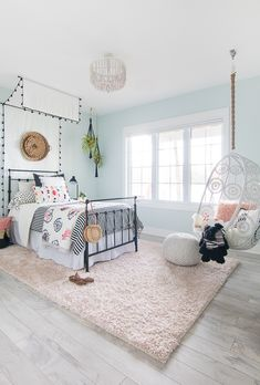 Clean, crisp, beautiful! Black White Boho Tween Girl Room Decor