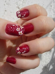 """Red background with white flowers for every season called """"white flowers nails art""""---pinned by Annacabella"""