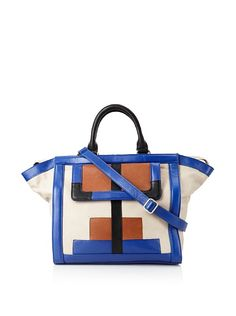 What do I love just as much as stripes? Colorblocking!! This would go with everything.   Isabella Fiore Women's Cornered Block Emma Tote at MYHABIT