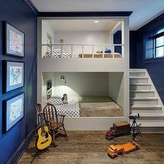 Bunk room ideas with beautiful bun beds for kid's, girl's and adult. Cool and creative built-in bunk beds ideas. Bunk room ideas that you want for your rooms. Bunk Beds Boys, Bunk Rooms, Bunk Beds With Stairs, Boys Bunk Bed Room Ideas, Loft Beds, Twin Beds, Best Bunk Beds, Twin Bedroom Ideas, Bunk Bed With Slide