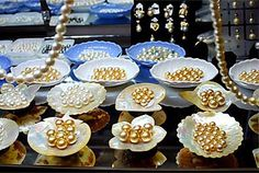 Gold Pearls in shells