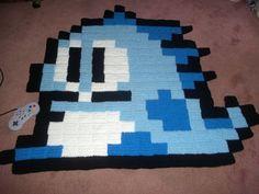 Bubble Bobble pixel crochet rug by harmonden
