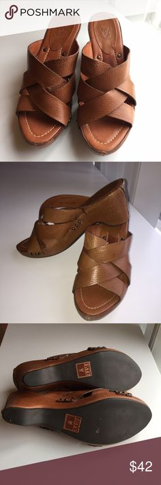 """Frye Cognac Thomasville Sandal Tan 8.5 Beautiful condition and intact soles. 3"""" heel. Frye Shoes Sandals"""