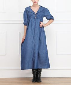 Look at this #zulilyfind! Blue Shirred Denim V-Neck Maxi Dress #zulilyfinds