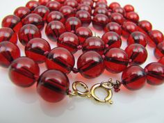 Cherry Red Amber Bakelite Bead Necklace & Bracelet Set. 12K Gold Fill Hand Knotted Silk. 1940s Vintage Red Translucent Prystal Bakelite by MercyMadge on Etsy