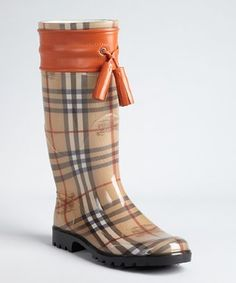 Burberry tangerine leather accent covered signature plaid rain boots