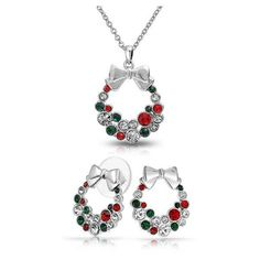 Bling Jewelry Rhodium Plated Crystal Christmas Wreath Necklace Stud... ($36) ❤ liked on Polyvore featuring jewelry, earrings, multicolor, crystal earrings, chain earrings, tri color earrings, bow earrings and stud earring set