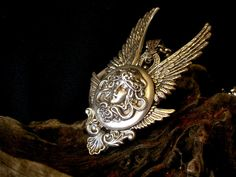 Silver Medusa and Angel Wings Gothic Pendant - Gothic Jewelry Angel Wings Jewelry, Angel Wing Necklace, Silver Choker Necklace, Angel Wing Pendant, Silver Necklaces, Necklace Chain, Jewelry Necklaces, Fantasy Jewelry, Gothic Jewelry