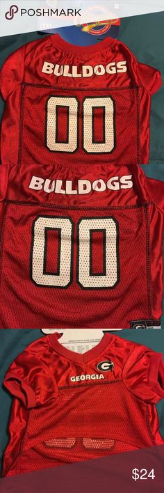 Georgia Bulldogs NCAA Dog Football Jersey Item #: GEO-4006 100% satin and poly mesh jersey with woven trim on neck and sleeves. Back has screen printed logo type, numbers, and woven jock tag. Front has screen printed college team logo. XS,S,M,L, XL Over lock stitching detail Woven label Team Logo does not appear on the front of XS jersey  Price is firm!! Lowball offers will be ignored. Rude or disrupted commenters will be blocked.   #ncaa #bulldogs #georgiabulldogs #dogjersey #dogs…