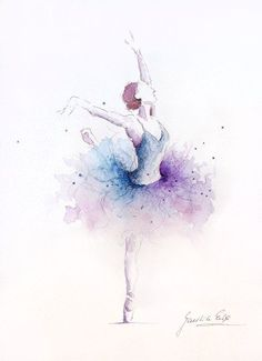 Ballerina Art Print Purple Blue Tutu Ballerina by EwArtStudio Ballerina Kunst, Ballerina Drawing, Ballerina Painting, Watercolor Art Paintings, Painting & Drawing, Dress Painting, Watercolor Dancer, Watercolor Pencil Art, Watercolor Fashion