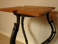 Square table or lamp stand, handmade ironwork by Tom Fell - Blacksmith