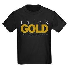 Childhood Cancer Think Gold Kids Dark T-Shirt