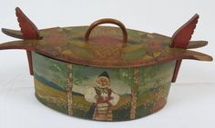 Antique Norwegian Rosemaled Tine Box... With Norwegian girl in traditional dress.