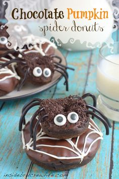 Chocolate Pumpkin Spider Donuts - chocolate pumpkin donuts with a double chocolate coating and fun candies to make spiders http://www.insidebrucrewlife.com