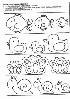 Actividades para niños preescolar, primaria e inicial. Fichas para niños para imprimir con dibujos para relacionar y pintar. Relacionar y Pintar. 44
