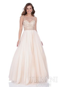 Sweetheart prom gown with beaded illusion bodice and waist detail. This prom dress is finished with a full tulle ball skirt.