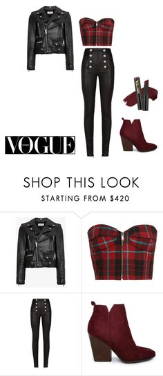 """Demi Lovato inspired outfit"" by worldwidebear ❤ liked on Polyvore featuring Yves Saint Laurent, Balmain, L.A. Girl and romwe"
