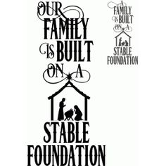 Silhouette Design Store: Family Built On A Stable Foundation Saying Christmas Quotes, Christmas Svg, Christmas 2019, Christmas Decorations, Fete Ideas, Decor Ideas, Craft Ideas, Pallet Coat Racks, Nativity Silhouette