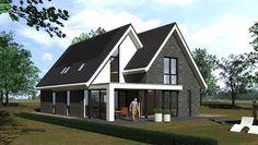 Nieuwe ontwerp met een modern landelijke woning. Op de visualisatie ziet u de achterzijde van …