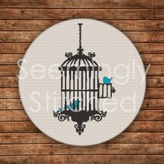 Counted Cross Stitch Pattern Birdcage by SeeminglyStitched