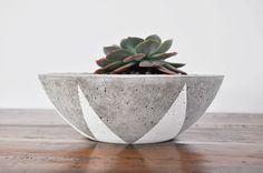 - FREE DELIVERY for orders in Inner Melbourne (20kms from Melbourne CBD). Please contact me for this option and I will create a custom order for you.   This handmade, hand painted concrete planter bowl measures approximately 9cm high x 26cm diameter. It weighs approximately 4kgs.  This pot is perfect for a mixture of a small succulents or cacti and comes with a drainage hole, unless requested otherwise. The inner is off centred.  The organic nature of concrete means no two pieces are ...
