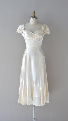 Vintage 40s Silk Velvet Gown 1940s Off The Shoulder Puff Sleeve Princess Formal DressWedding Bridal Size Small