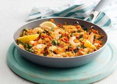 A classic dish that's made in one pan  chicken and prawn paella