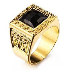 PPL- berühmten schwarzen Quadrat Labyrinth 18k vergoldet Herren Ring aus Edelstahl , 10