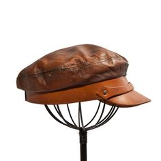 6a2d086569e5d Vintage All Leather Biker Newsboy Hat Cabby by RabbitHouseVintage Henschel  Hats
