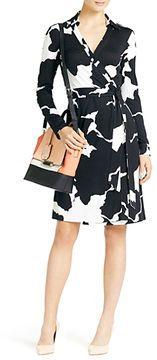 ShopStyle: Diane von Furstenberg New Jeanne Two Silk Jersey Wrap Dress In Graphic Petals Black