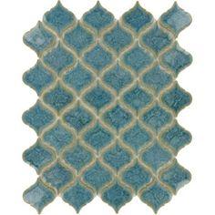 Ice Blue Arabesque Glossy Porcelain Tile