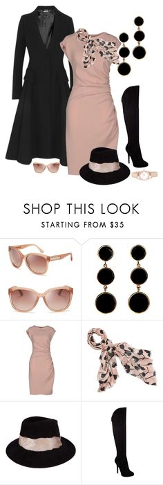 """""""Black and Blush"""" by striplingmom-1 ❤ liked on Polyvore featuring Michael Kors, Alexander McQueen, Caipora Jewellery, Moschino, LOFT, Eugenia Kim, GUESS and Anne Klein"""