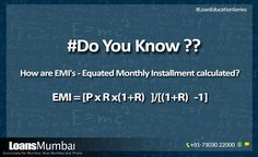 How are EMI's – Equated Monthly Installment calculated?  #EMI, #EMICalculator, #LoanEMI, #BankEMI