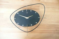 Original 1960's French early space-age battery Wall Clock