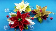 Easy Christmas hairpin/Pelo clips fasil de Navidad/Рождественские заколк...