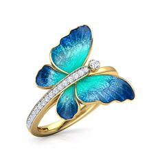 Infinity Jewellery 925 Sterling Silver Flare Blue Butterfly Ring For Women's Gold Rings Jewelry, Cute Jewelry, Jewelery, Jewelry Accessories, Jewelry Design, Silver Rings, Craft Jewelry, Fashion Rings, Fashion Jewelry