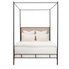 Marco Bed Queen - Hand Hammered Iron Frame w/Canopy ,Tapering Posts and Upholstered Headboard