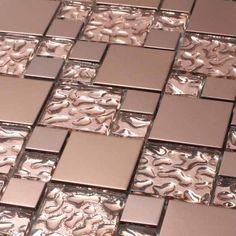 Giorbello Venetian Random Sized Glass and Aluminum Mosaic Tile in Copper Goddess Mosaic Tiles, Wall Tiles, Glass Tiles, Backsplash Tile, Tiling, Tin Tiles, Mosaic Bathroom, Mosaic Wall, Küchen Design