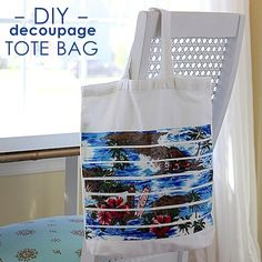 DIY decoupage beach tote bag - made with fabric scraps and Mod Podge!