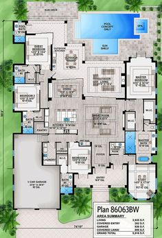 Plan Southern House Plan With Indoor-Outdoor Living Spaces Reformat bedroom/closet into a media room and extend master to include sitting room (workout area) Dream House Plans, Modern House Plans, House Floor Plans, Dream Houses, Modern Houses, House Design Plans, Architectural Design House Plans, Plan Design, The Plan