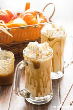 Caramel Pumpkin Pie Milkshake: This fall-inspired milkshake combines vanilla ice cream, a slice of pumpkin pie, and caramel. | #HungerIsUS #sponsored